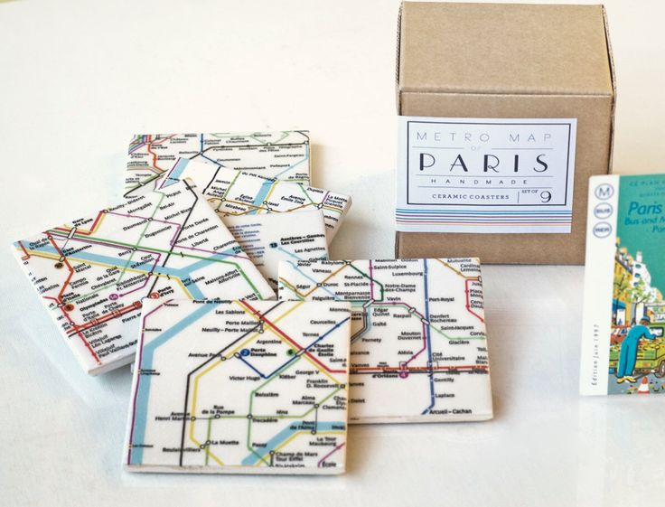 Paris Metro Map Coasters, Ceramic Tile Coasters, Special Gift Set set of 9 by Tilissimo on Etsy https://www.etsy.com/listing/94059434/paris-metro-map-coasters-ceramic-tile