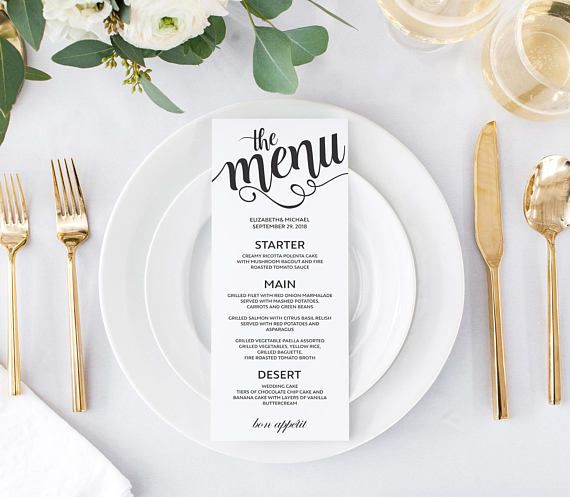 Elegant, Modern And Luxury, Black And White Wedding Dinner Menu Cards  Templates. Prinable  Dinner Card Template