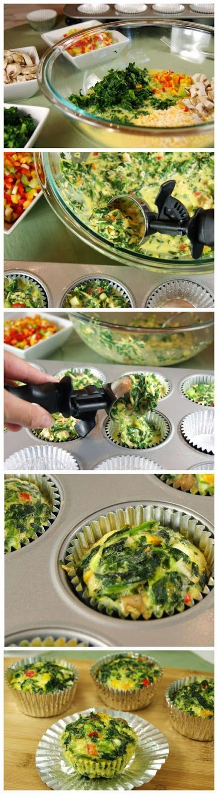 Veggie Quiche Cups To-Go ~ Best Food Cloud Ingredients 1 (10 oz.) package frozen chopped spinach, thawed and well-drained 7 eggs or 1 3/4 c. egg substitute 3/4 c. shredded cheddar cheese 1/4 c. finely diced red bell pepper 1/4 c. finely diced mushrooms 1/4 c. finely diced onion Instructions: bake on 350 for 25 mins.