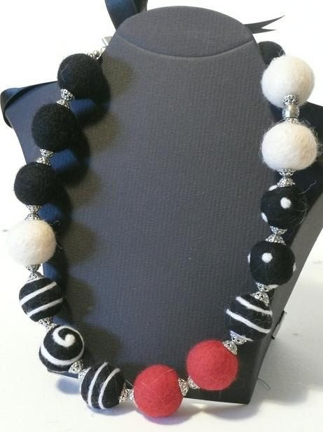 Felted Balls Necklace in Black White and Red by sussigallery, $79.00