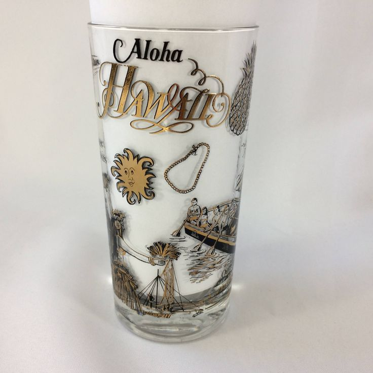Aloha Hawaii Gilt Black Glass Vintage Diamond Head Sunset Cruises Dancers MCM Souvenir Glass by KoolKoolThangs on Etsy