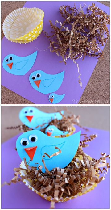 Blue Bird Craft in Cupcake Liner Nests! A fun spring craft for kids to make | CraftyMorning.com