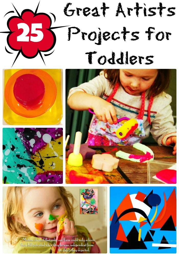 Here are 25 art projects for toddlers that introduce them to some of the great artists! Hands on learning...
