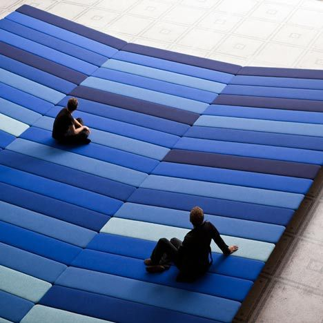 London Design Festival 2011: French designers Ronan & Erwan Bouroullec have laid a stripy field of fabric inside the Raphael Court of the V&A museum as part of the London Design Festival.  The Textile Field installation covers 240 square metres of the gallery floor and encourages gallery visitors to lie down when looking at the More