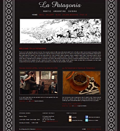 Drupal theme for La Patagonia Restaurant by Diane Wallace