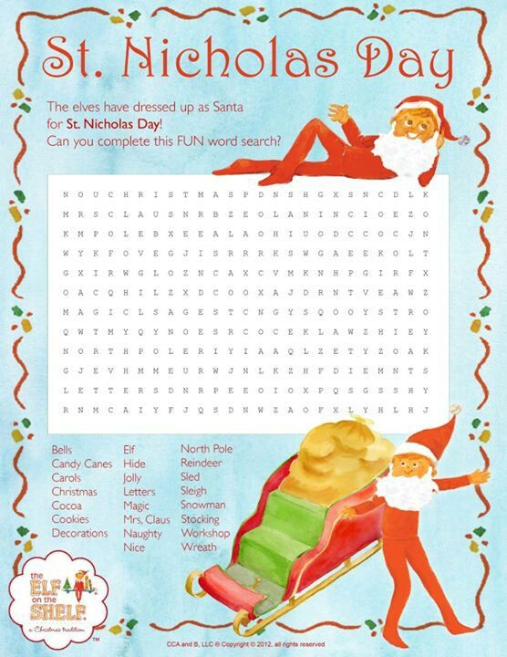 St. Nicholas day word search