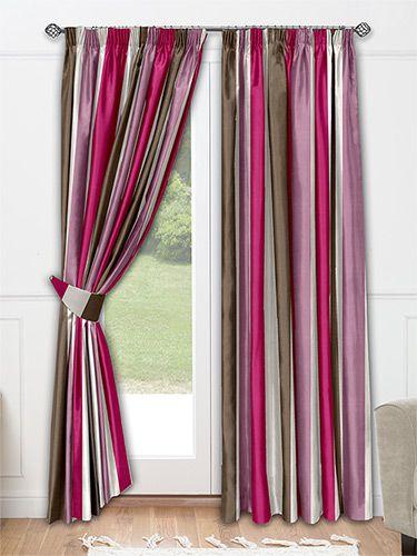 Silken Stripe Plum Curtains from Curtains 2go