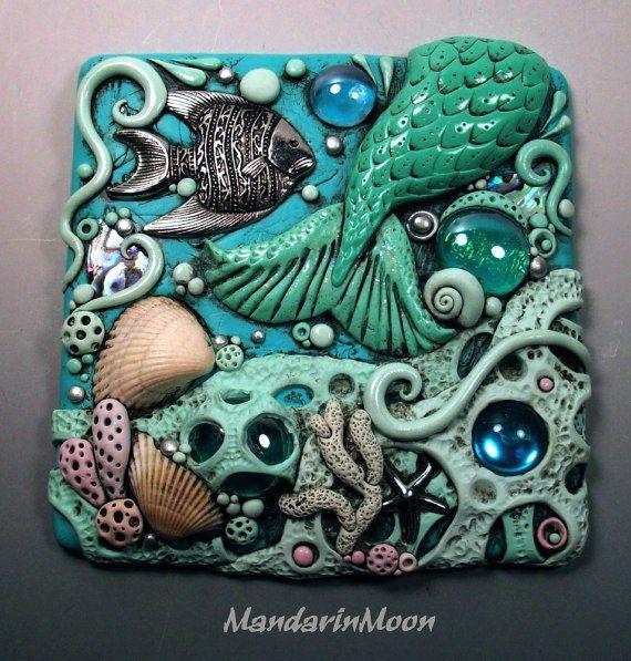 Verre et sirène queue Art tuile argile polymère