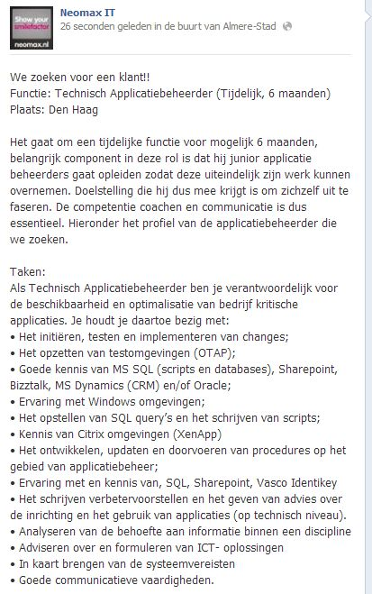 #zoektwerk #vacature #IT We zoeken voor een klant!! Functie: #Technisch #Applicatiebeheerder (Tijdelijk, 6 maanden) Plaats: #DenHaag  Het gaat om een tijdelijke functie voor mogelijk 6 maanden, belangrijk component in deze rol is dat hij junior applicatie beheerders gaat opleiden zodat deze uiteindelijk zijn werk kunnen overnemen. Doelstelling die hij dus mee krijgt is om zichzelf uit te faseren. De competentie coachen en communicatie is dus essentieel. Jobs@neomax.nl