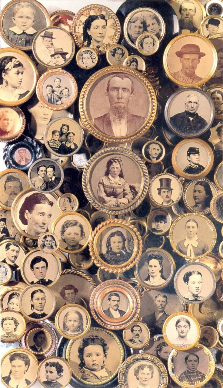 "So cool!   ""Buttons--My great grandmother is wearing a button with a picture of my great grandfather on it in their wedding photo.  :}"""