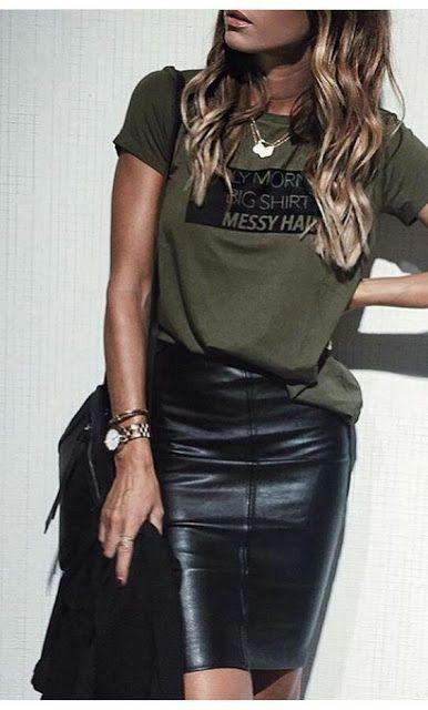 Inspirações para looks com SAIA DE COUROOOO!!!  #saia #couro #sintetico #inspirações #looks | MODA in 2019 | Fashion, Mom outfits, Womens_fashion