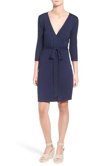 Press Three Quarter Sleeve Jersey Wrap Dress available at #Nordstrom