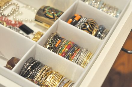 """Bangles Organizationusing IKEA drawer dividers: """"SKUBB  Box with compartments, white"""""""