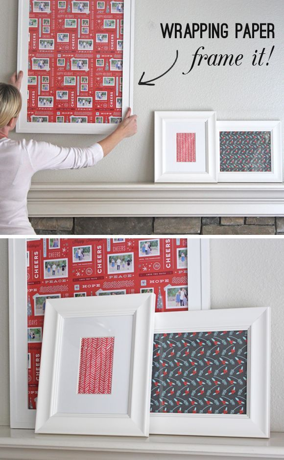 Frame festive wrapping paper. Great way to use frames already in your