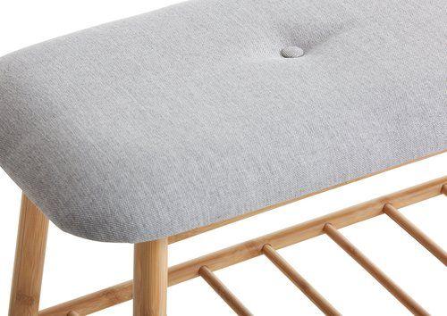 Bænk VANDSTED stof grå/bambus