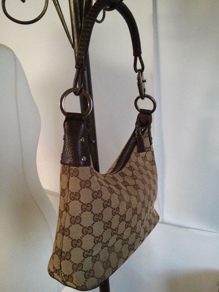 Gucci Black Canvas,Leather Half Moon Ring Shoulder Bag #Gucci #ShoulderBag