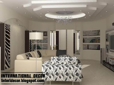 modern gypsum board ceiling design for modern living room with attractive finish