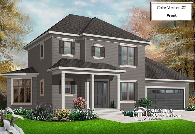 W2747 V1 Colonial 3 Bedroom Home Plan 2 Car Garage Open Floor Plan Concept Open Floor Car
