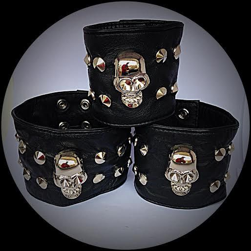 SKULL Hidden Pocket Genuine Leather Cuff Wristband Wallet - Money Bracelet - Biker Wallet by ToxifyDesigns on Etsy