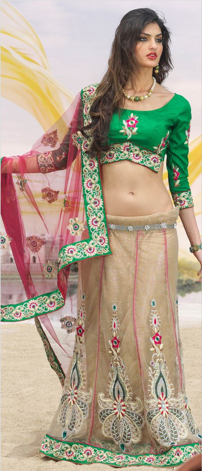 #Pink and Fawn Net #Lehenga #Style #Saree With Blouse