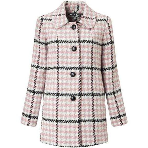 Pink Check Button Through Coat (£64) ❤ liked on Polyvore featuring outerwear, coats, miss selfridge coats and miss selfridge