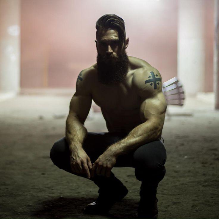 Brendan Bourassa - full thick bushy beard mustache beards bearded man men muscles fit tattoos tattooed handsome #beardsforever