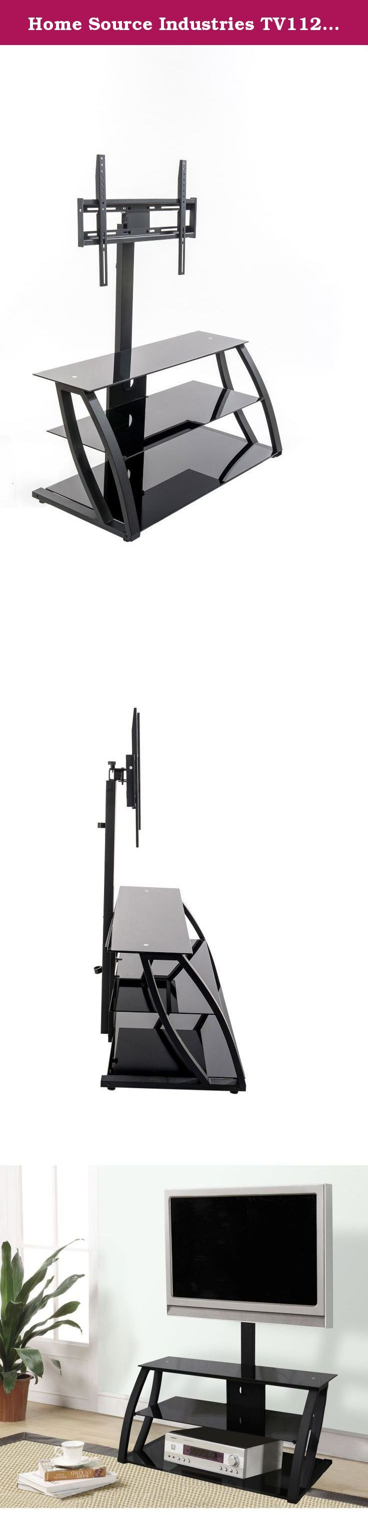 """Home Source Industries TV11235 Modern TV Stand with Mount and Shelving for Components, Black. With this TV Stand, you can finally display your flat-panel plasma or LCD television in style. Designed to accommodate televisions up to 55"""", the TV stand features a strong metal mount and an open design. The three shelving units complement a modern home decor, and they also allow for the storage and display of various entertainment accessories."""