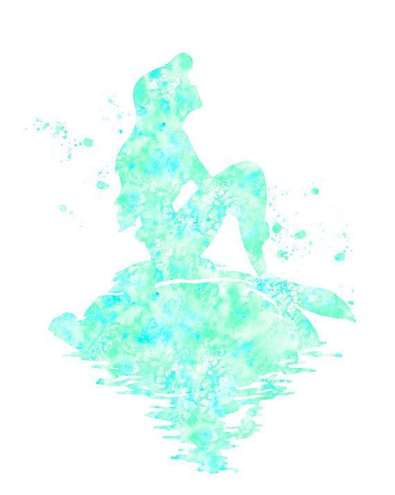 Sea foam green Mermaid print Mermaid watercolor by FluidDiamondArt