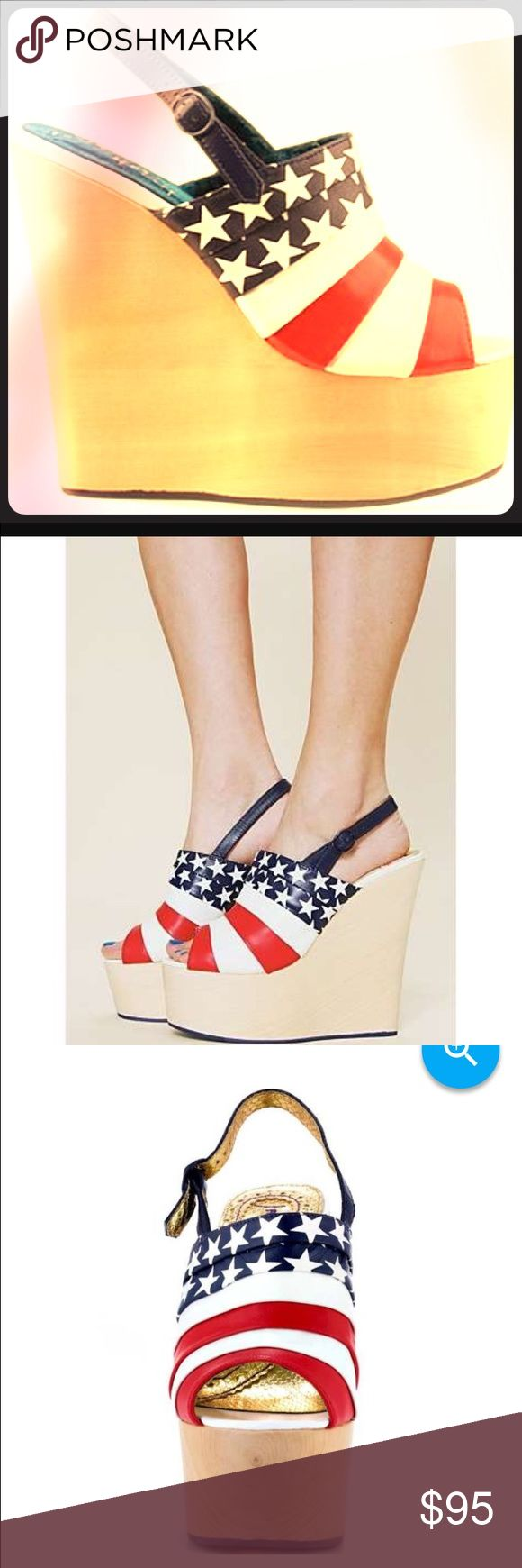 Irregular choice Chica chola USA flag platform Irregular choice Chica chola USA American flag platform wedge sandal shoes red and blue 10 - worn once - comes in original box Irregular choice Shoes Platforms