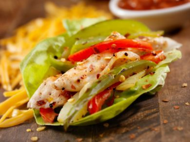 Fajitas Wrapped in lettuce.. Healthy and looks good!