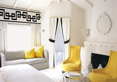 white, black and yellow bedroom
