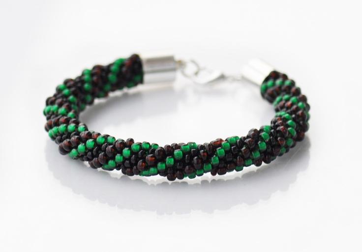 Hand made jewellery; bead crochet bracelet; www.facebook.com/BizuteriaLowyt
