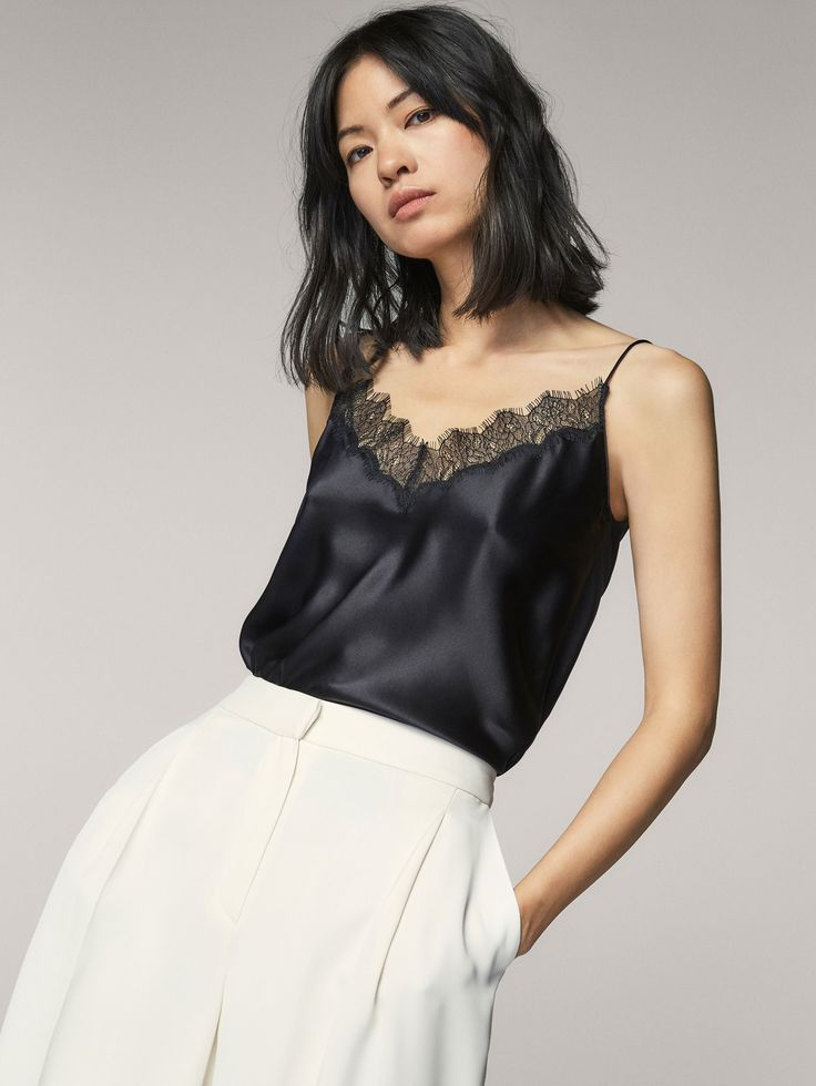 Top with lace detail, made of mulberry silk. Features a straight fit, V-neck, thin straps and hem with side vents.