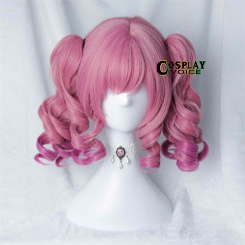 Lolita-Pink-Short-37cm-Women-Party-Cosplay-Anime-with-Ponytails-Wig-Free-Wig-Cap