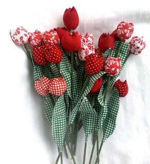 Tulipanes de tela. Bonito regalo. Tutorial