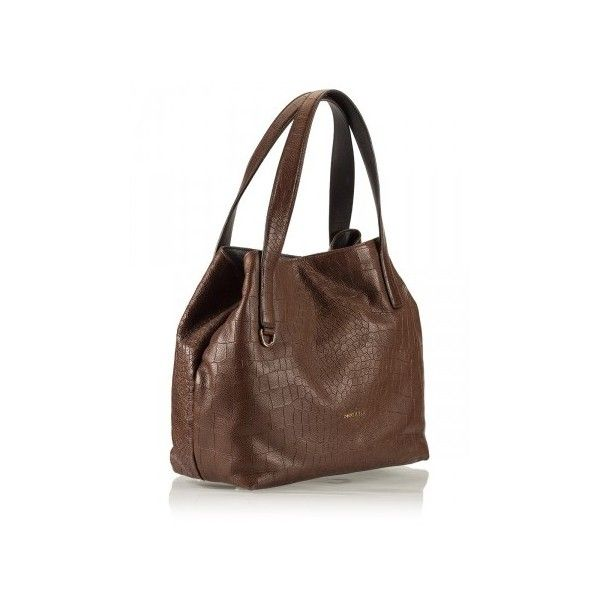 Coccinelle - MILA Brown croc-print leather hobo tote bag ($385) ❤ liked on Polyvore featuring bags, handbags, tote bags, tote handbags, leather handbags, leather hobo purse, brown leather tote and leather hobo handbags
