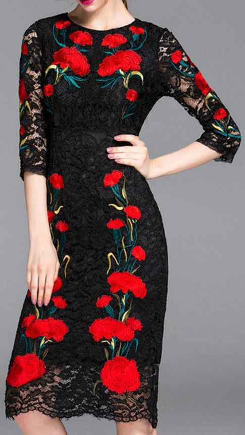 Carnation Embroidered Black Lace Sheath Dress
