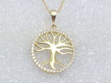 Tree of Life 925 Sterling Silver Pendant Necklace Yellow Gold Plated Crystals