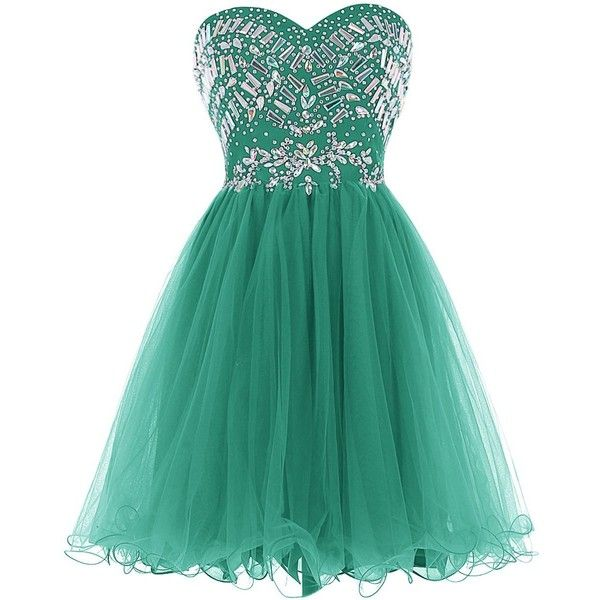 Tideclothes Sweetheart Beading Prom Dress Short Tulle Evening Dress (€94) ❤ liked on Polyvore featuring dresses, short tulle dress, tulle dress, tulle cocktail dress, prom dresses and cocktail prom dress