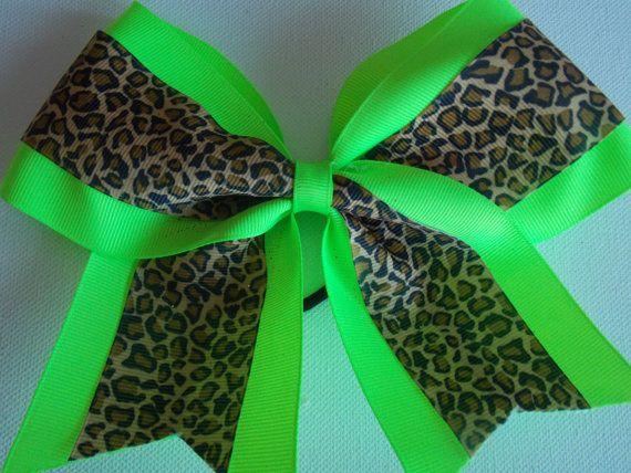 big cheer bow with cheetah print
