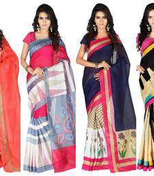 Buy Multicolor printed cotton saree with blouse sarees-combo-sari online