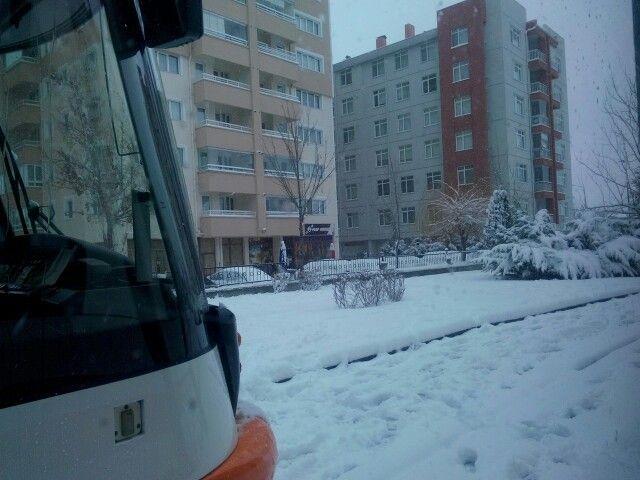 Snow,in tram