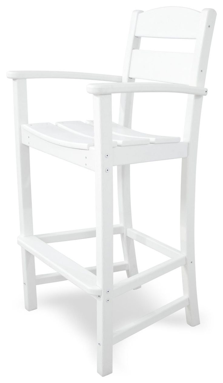 Ivy Terrace IVTD212WH Classics Bar Arm Chair, White. Recycled All-Weather HDPE lumber will not splinter, crack, chip, peel, or rot; solid, heavy-duty construction features stainless steel hardware. Has the look of painted wood without the maintenance; requires no painting, staining or waterproofing. Some assembly required; made in the USA. Measures 24-1/2 Inch wide by 21-3/4 Inch deep by 47-1/8 Inch high; 20-year limited warranty.