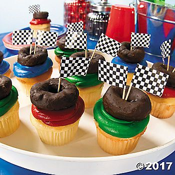 "Complete with chocolate-covered tire"", these monster truck cupcakes are monstrously delicious! Great for Monster Truck birthday parties or just as a ..."
