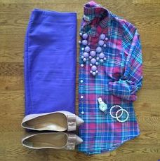 blue and plaid shirt and skirt, necklace and shoes