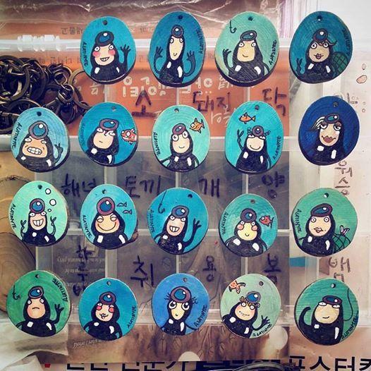 Jeju Henyeo Keyring. Handmade and hand painted indigo blue under the sea colorful korean traditional culture key holder by lithuanian artist Agne Latinyte (aka yuujin, yuujinaga) on Etsy shop