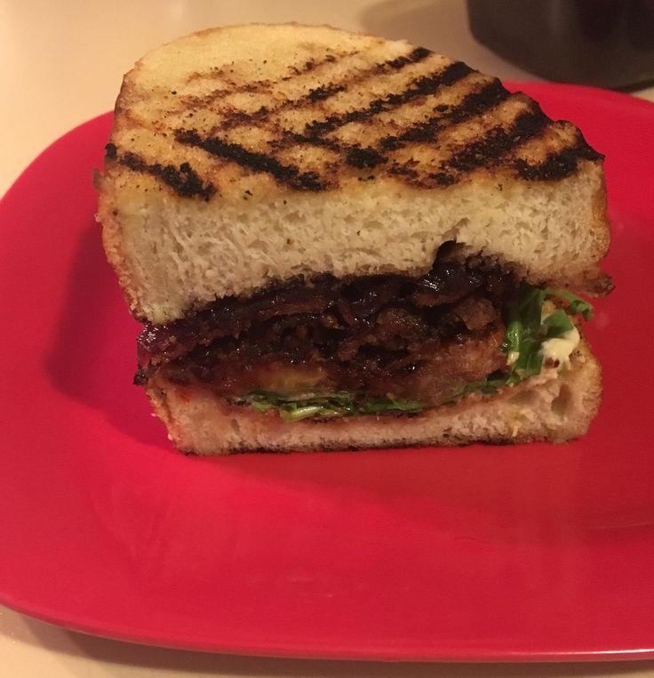 My boyfriend made me a BLT with maple bacon arugula marinated tomatoes homemade red onion jam and horseradish mayo. [Homemade]