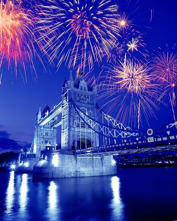 Fireworks over Tower Bridge, London