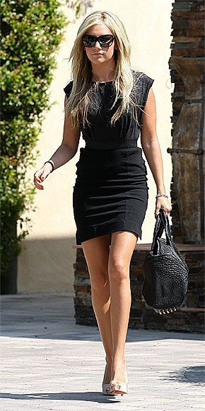 Image detail for -... Ashley Tisdale's black purse, gold shoes and black dress? | OutfitID