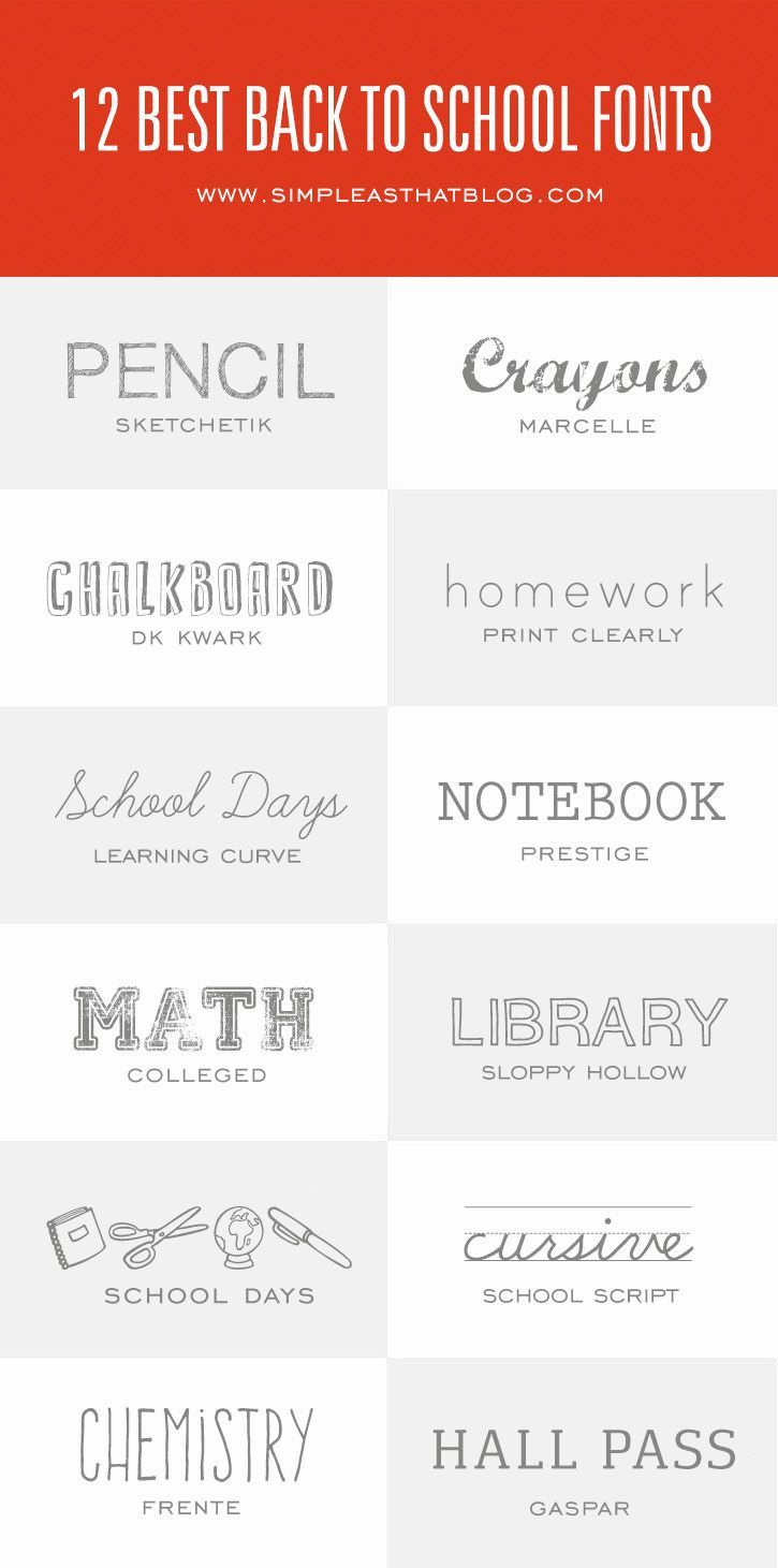 Your designs are sure to make the grade with these 12 Back to School fonts!: